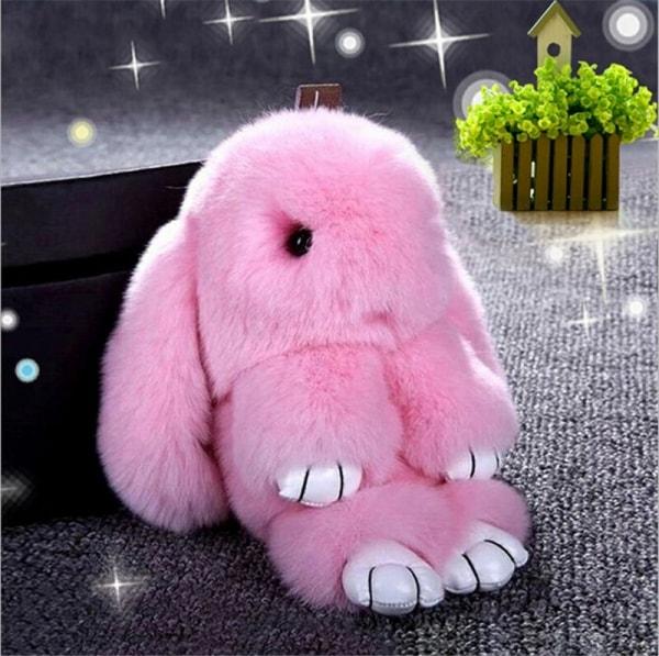 """Брелок """"Меховой Кролик"""" (натуральный мех) розовый"""