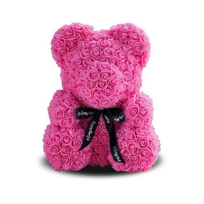 Фото Мишка из3D роз, 25 см. розовый, вкоробке